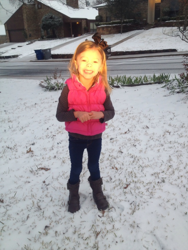 Snow on her birthday.
